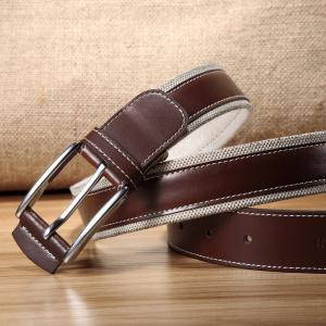 HAUT TON Men's Design Business Casual Canvas Leather Belt -