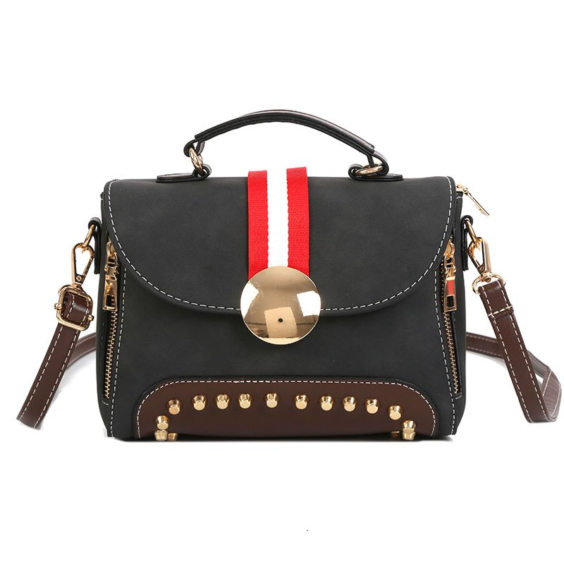 Fancy Female New Rivet Frosted Cross-body Shoulder Messenger Bag