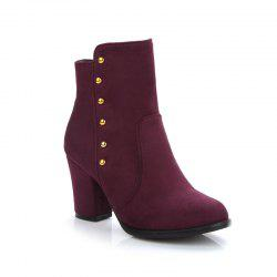 Women'S Bottines Rivets Ornament Mid Calf Solid Color Block Heel Boots -