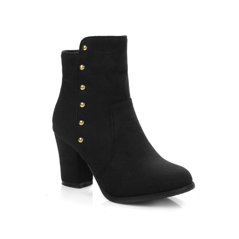 Sale Women'S Bottines Rivets Ornament Mid Calf Solid Color Block Heel Boots