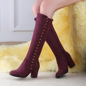 Women'S Boots Round Toe Matte Thick Heel Rivets Decor Fashionable Shoes -