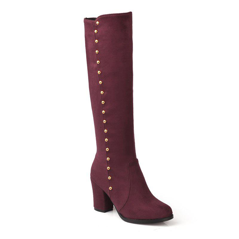 Affordable Women'S Boots Round Toe Matte Thick Heel Rivets Decor Fashionable Shoes