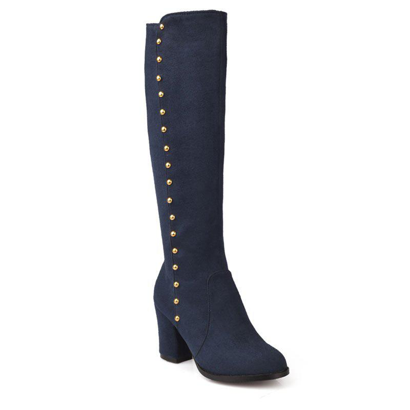 Trendy Women'S Boots Round Toe Matte Thick Heel Rivets Decor Fashionable Shoes