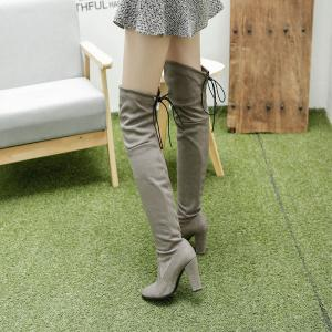 Women's Boots Above Knee High Thick Heel Solid Color All Match Fashionable Shoes -