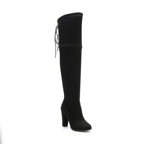 Cheap Women's Boots Above Knee High Thick Heel Solid Color All Match Fashionable Shoes