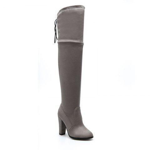 Online Women's Boots Above Knee High Thick Heel Solid Color All Match Fashionable Shoes