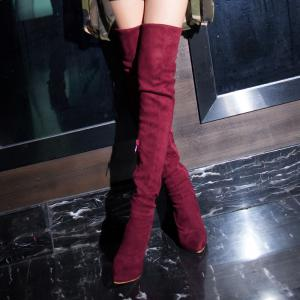 Women's Above Knee Boots Solid Color Thin Heel Brief Style Shoes -