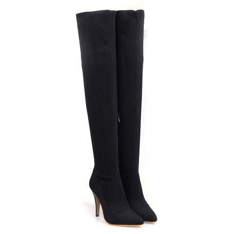 Buy Women's Above Knee Boots Solid Color Thin Heel Brief Style Shoes