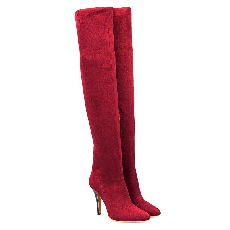 Fancy Women's Above Knee Boots Solid Color Thin Heel Brief Style Shoes