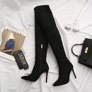 Female Winter Boots Over The Knee Boots High Heel Suede Boots -