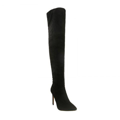 Unique Female Winter Boots Over The Knee Boots High Heel Suede Boots