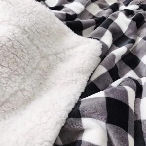 Double Layer Thickening Plush Plaid Blanket -