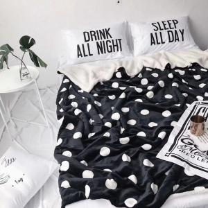 Double Layer Thickening Black Wave Dot Fleece Blanket -