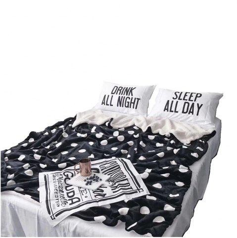 Outfit Double Layer Thickening Black Wave Dot Fleece Blanket