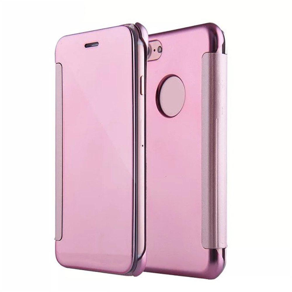 Chic Luxury Mirror PU Leather Smart Flip hard Protective back cover Case for iPhone 7 Plus