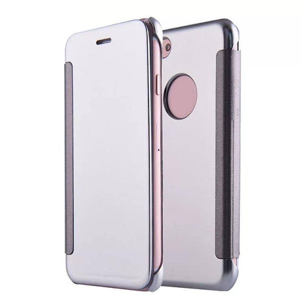 Trendy Luxury Mirror PU Leather Smart Flip hard Protective back cover Case for iPhone 7 Plus