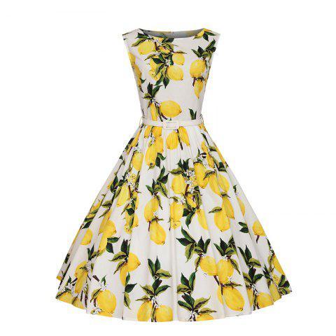 Shops Woman's Sleeveless Lemon Print Large Dress