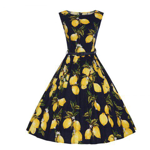 Buy Woman's Sleeveless Lemon Print Large Dress