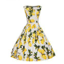 Woman's Sleeveless Lemon Print Large Dress -