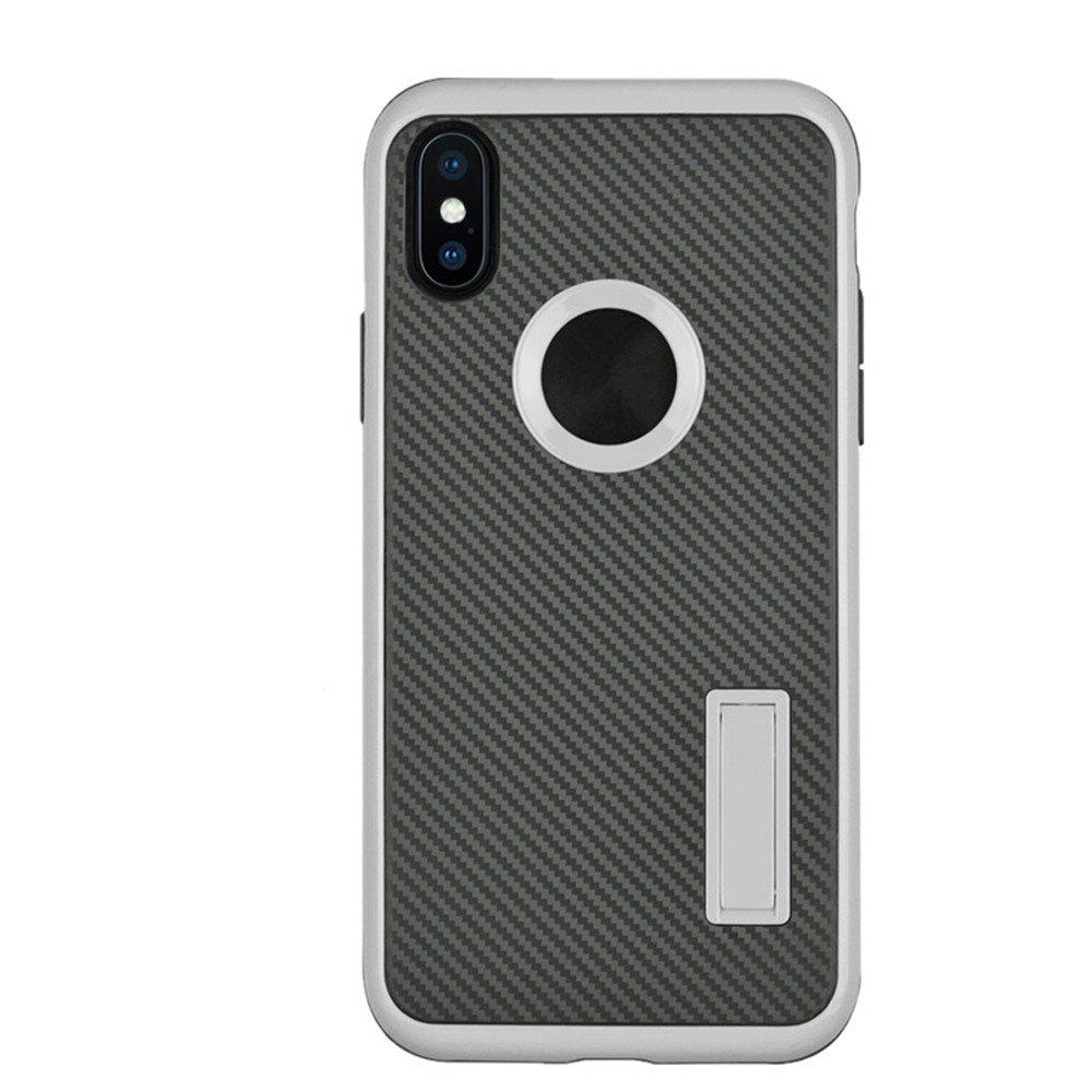 Fashion Slim Carbon Fiber Bracket Rear Cover Case for iPhone X