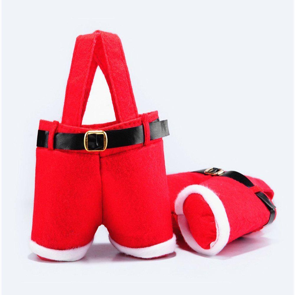Outfit 2PCS Christmas Present Candy Bags Santa Pants Style for Wedding Holiday New Year Holiday Christmas Decorations