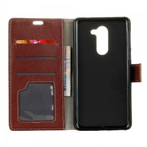 Litchi Pattern PU Leather Wallet Case for Huawei Honor 6X -