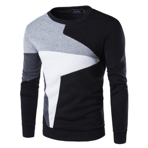Chic Spring New Men'S Casual Long-Sleeved Wind Hit The Color Stitching Hedging Sweatshirt