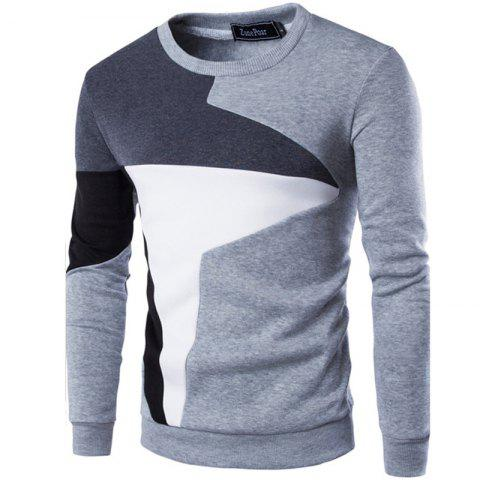 Best Spring New Men'S Casual Long-Sleeved Wind Hit The Color Stitching Hedging Sweatshirt