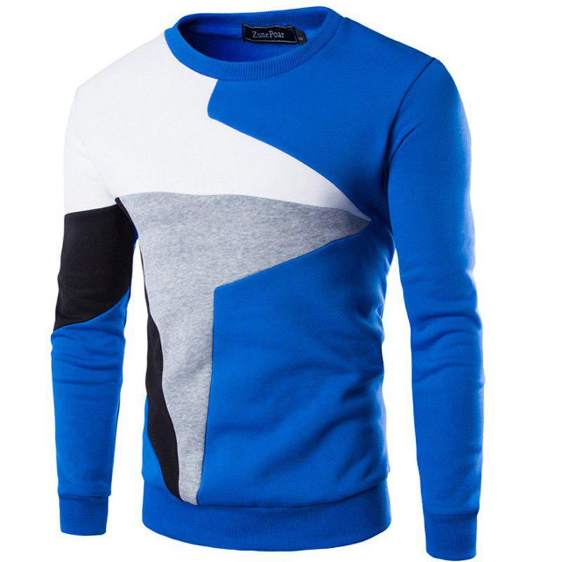 Latest Spring New Men'S Casual Long-Sleeved Wind Hit The Color Stitching Hedging Sweatshirt