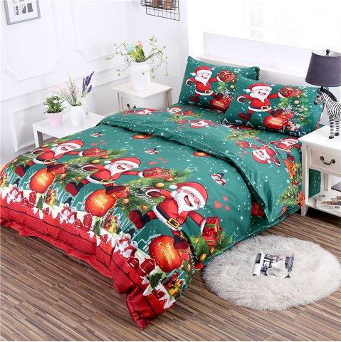 Trendy 3D Printed Christmas Santa Bedding Set Polyester Duvet Cover Christmas Bedroom Decorations