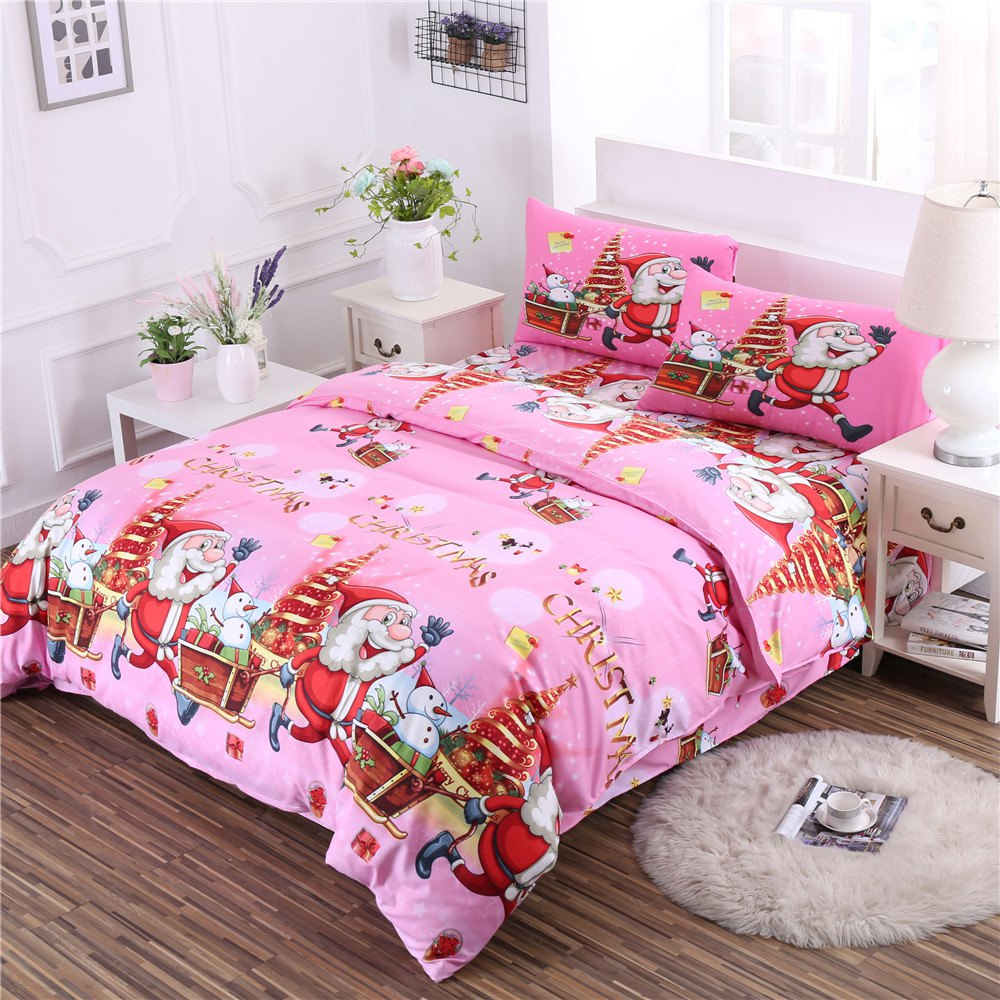 Unique Christmas Bedding Set Polyester Santa 3D Printed Christmas Bedding Decorations