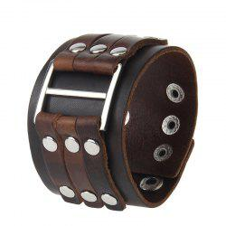 Fashion Personality Wide Leather Alloy Rivets Punk Bracelet -
