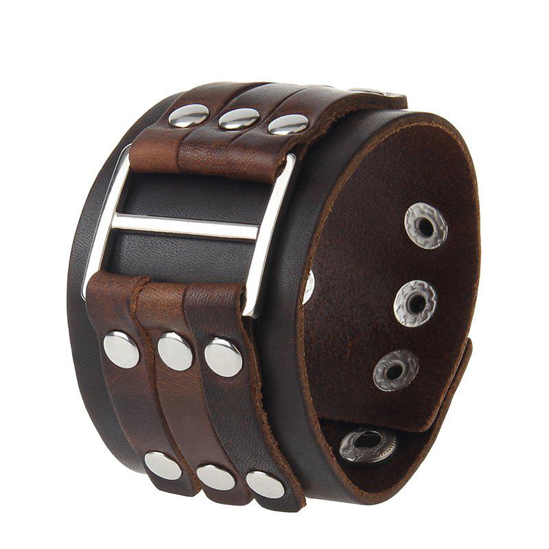 Best Fashion Personality Wide Leather Alloy Rivets Punk Bracelet