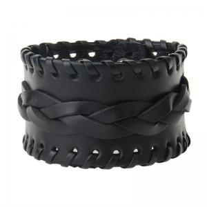 Fashionable Hand Ornaments Rope Knitted Leather Wide Bracelet -