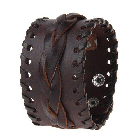 Discount Fashionable Hand Ornaments Rope Knitted Leather Wide Bracelet