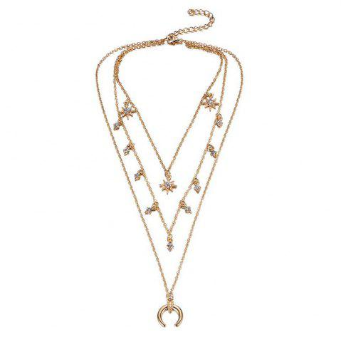 Online Christmas Gift Alloy Horn Layer Women Necklace