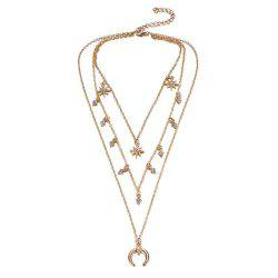 Christmas Gift Alloy Horn Layer Women Necklace -