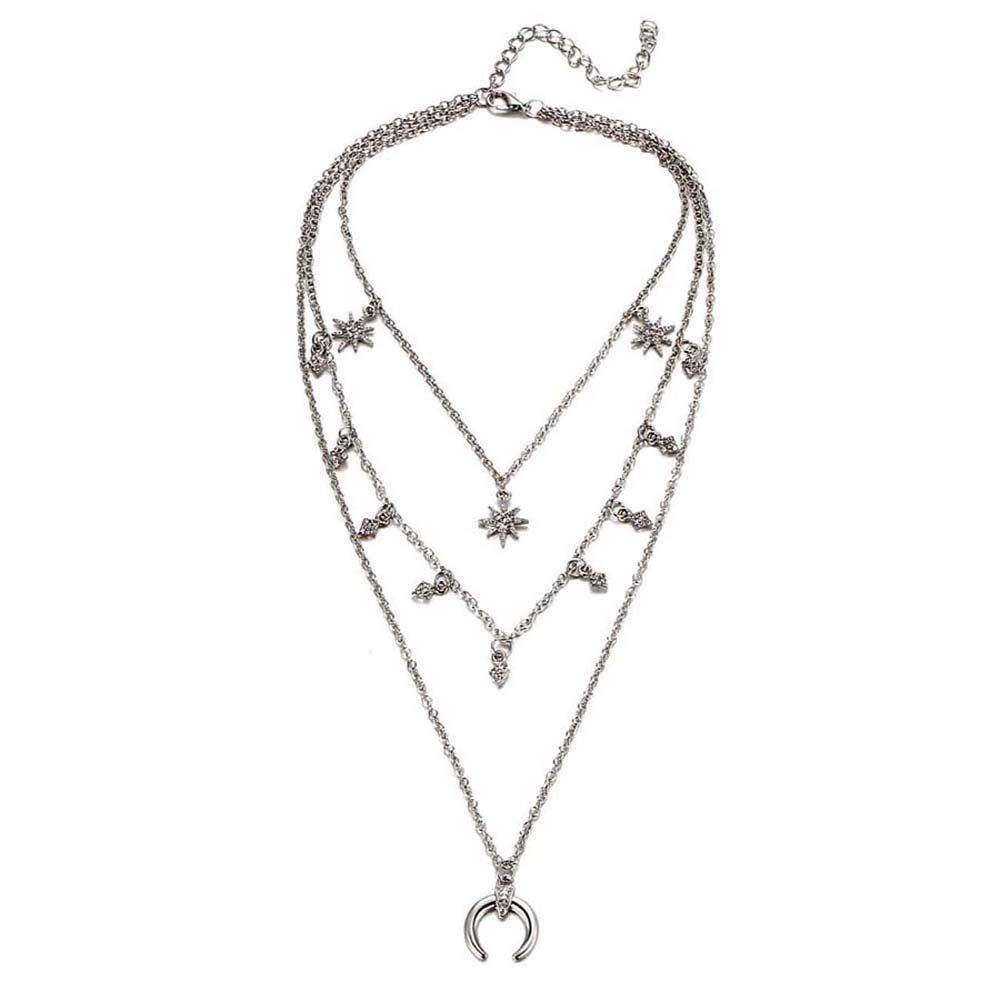 Best Christmas Gift Alloy Horn Layer Women Necklace