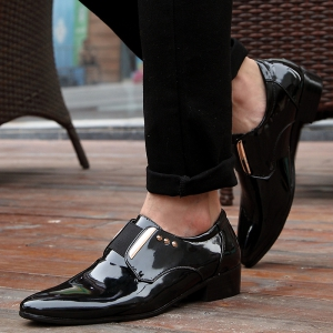 New Bright Black Leather Shoes Korean Version Young Men'S Shoes -