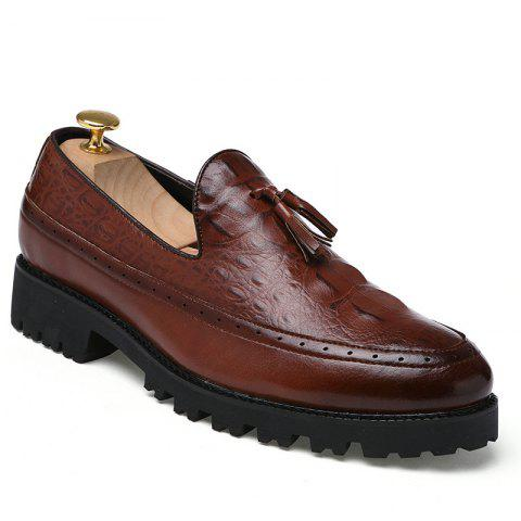 Trendy Alligator Leather Shoes Business Trend Vintage British Style Tassel Leisure Men'S Shoes