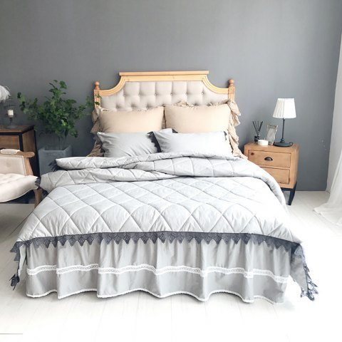Latest Grey Quilting Cover Bedding Set