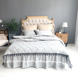 Grey Quilting Cover Bedding Set -