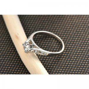 Classic 18k White Gold Plated 1ct Top Cz Diamond Stone Engagement Finger Rings for Women -