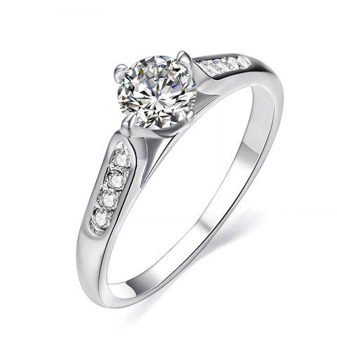 Unique Classic 18k White Gold Plated 1ct Top Cz Diamond Stone Engagement Finger Rings for Women