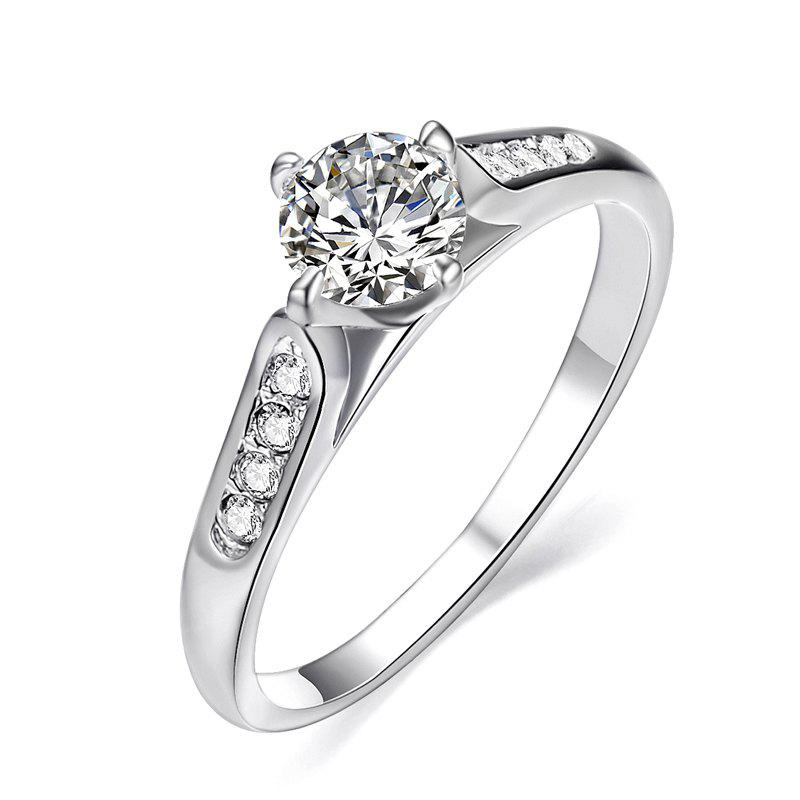 Fashion Classic 18k White Gold Plated 1ct Top Cz Diamond Stone Engagement Finger Rings for Women