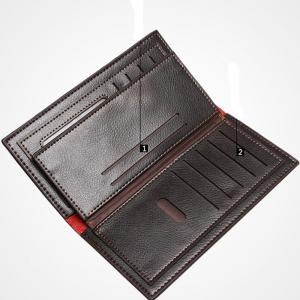 Men's Simple Leather Card Holder Solid Color Wallet Hand Purse -