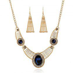 Gold Brief Paragraph Gem Necklace Set -