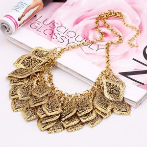Multi Layer Hollowed Out Leaves Carved Clavicle Chain Necklace -