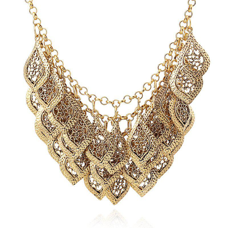 Shop Multi Layer Hollowed Out Leaves Carved Clavicle Chain Necklace