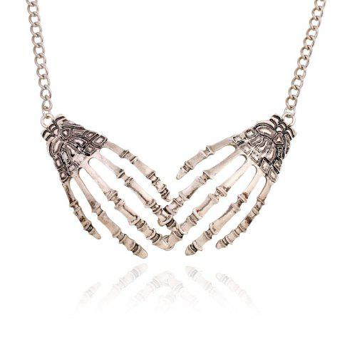 Store Silver Metal Gripper Alloy Short Collar Bone Necklace
